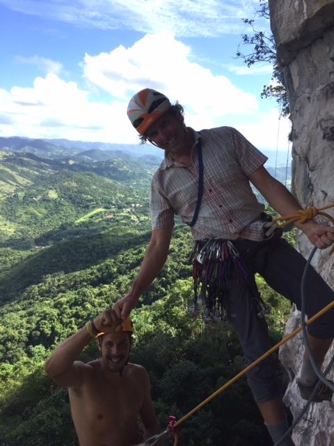 AMGA belayed rappel scenario in Puerto Rico.